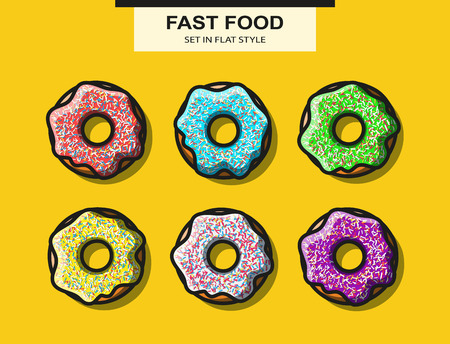stuffing: Set of donuts with powder in flat style. Vector