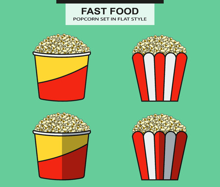inflated: Popcorn set in flat style. In vector
