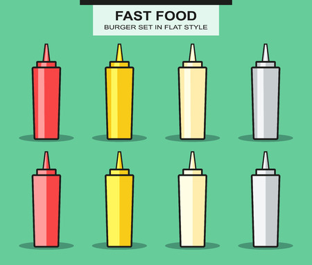 patch of light: Set of bottles for sauces in flat style. Vector Illustration