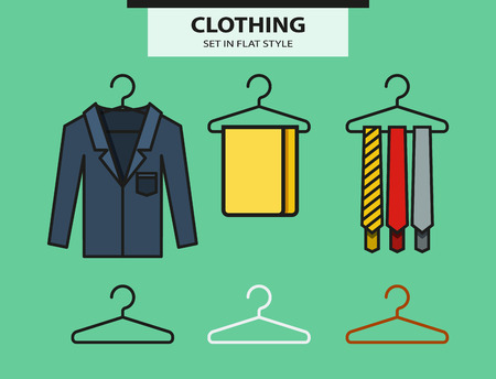 hangers: Set of hangers with accessories in flat style. Vector Illustration