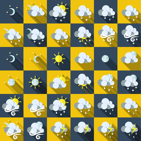 Set of icons with weather style flat with long shadows. Vector. Vector