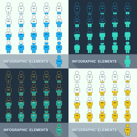 segmented: Set of segmented charts in the form of people. Vector illustration