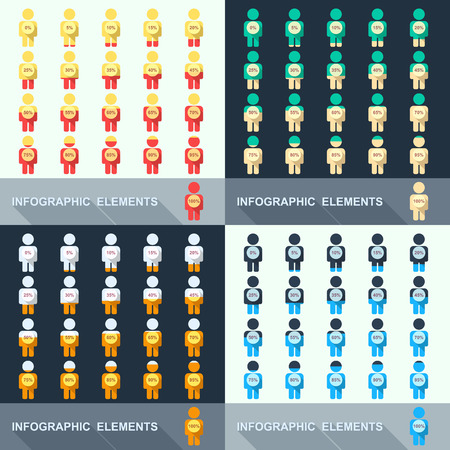 Set of segmented charts in the form of people. Vector illustration Vector