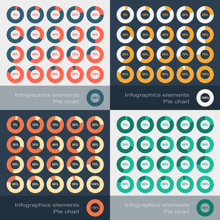 Set of the round segmented charts in flat style. Vector illustration Stock Illustratie