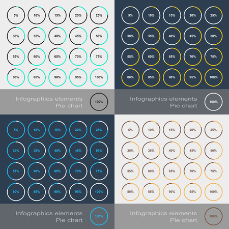 segmented: Set of the round segmented charts in flat style. Vector illustration Illustration