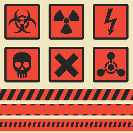 wastes: Warning symbols. Set in vector. The seamless tape. Eps10