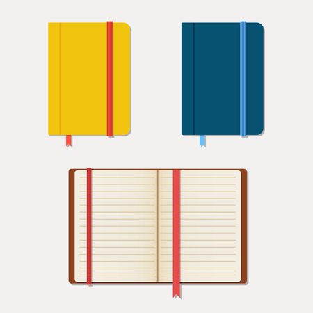 moleskin: Set of notebooks in flat style with shadows. Vector illustration