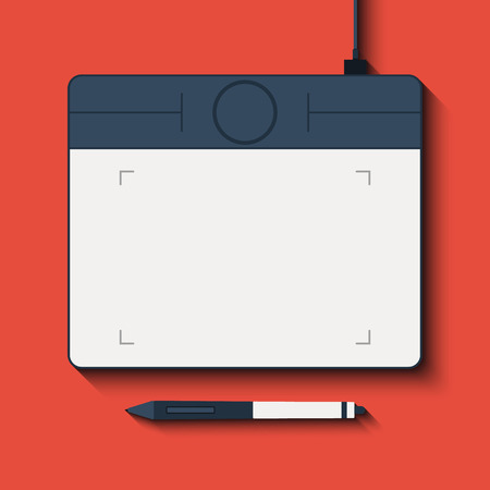 digitizer: The isolated graphic tablet with the handle. Vector Illustration