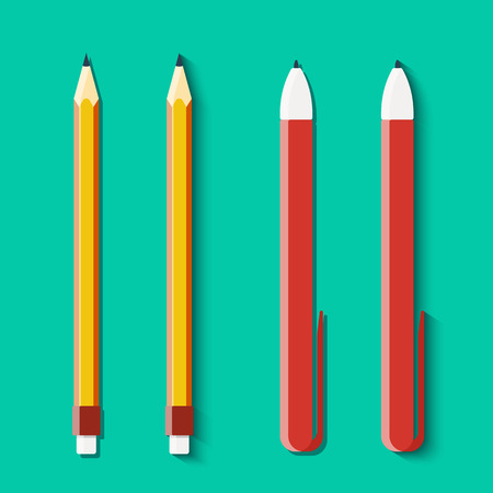 clericalist: Set of pencils and handles in flat style. Vector illustration Illustration