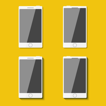 palmtop: Set of phones in flat style with shadows. Vector illustration