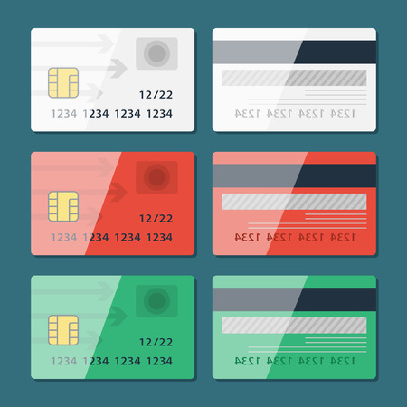sides: Vector Credit Card two sides in flat style. Vector
