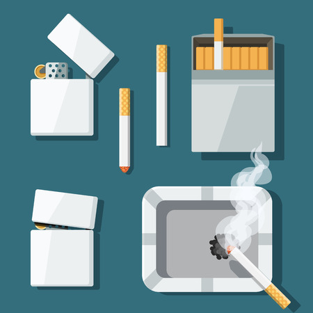 Set of lighters, cigarettes and ashtray in flat style. Vector
