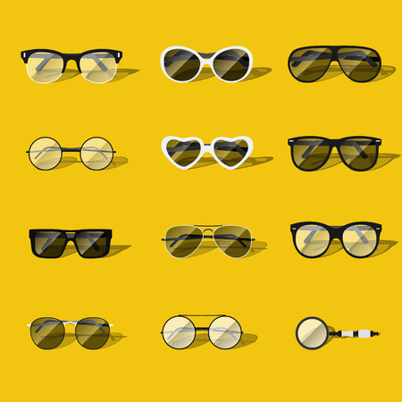 wayfarer: glasses vector set isolated in flat style. Illustration