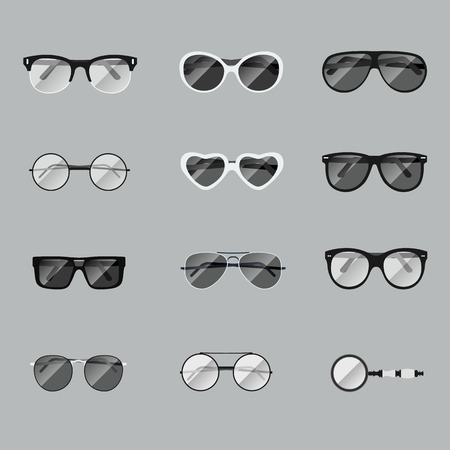 ocular: glasses vector set isolated in flat style. Illustration