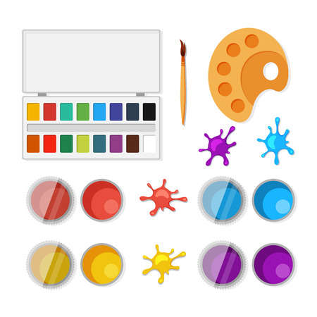 master page: Set of objects for artists in flat style. Vector