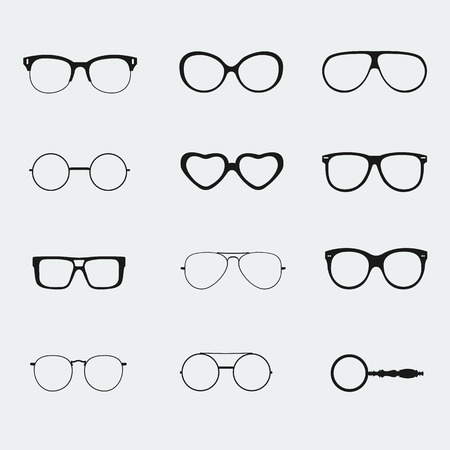 wayfarer: glasses vector set isolated white background in flat style.