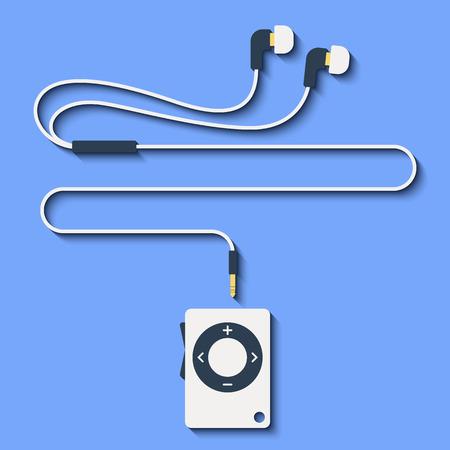 earphones: stylish modern MP3 player with earphones in flat style. Vector