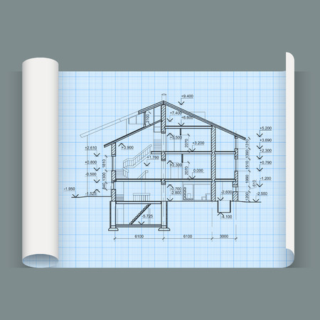 Sheet in expanded form with drawing house. Whatman paper. Vector Vector