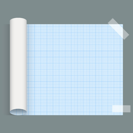 squared paper: Big sheet of a squared paper Whatman paper fixed by an adhesive tape. Vector Illustration