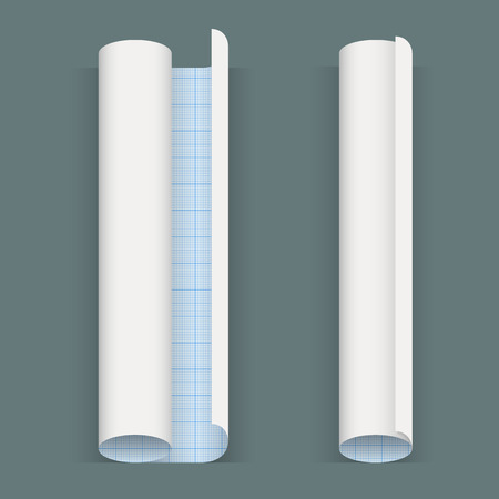 Set of the curtailed sheets of a squared paper. Whatman paper. Vector Illustration