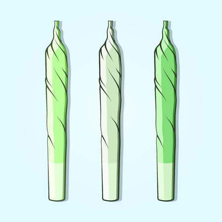 burning paper: Roll-up with hemp in flat style. Vector