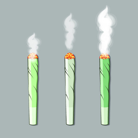 toke: Burning roll-up with hemp in flat style. Vector Illustration