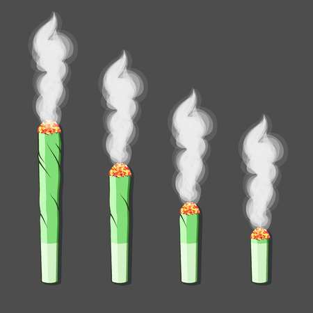 Burning roll-up with hemp in flat style. Vector Ilustração