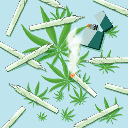 marihuana: Roll-ups with hashish and lighter on a table. Vector