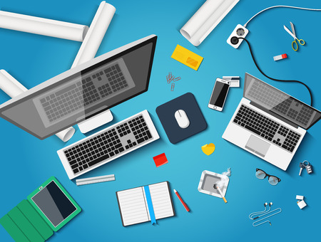 contribution: Workplace with different subjects in flat style. Vector Illustration