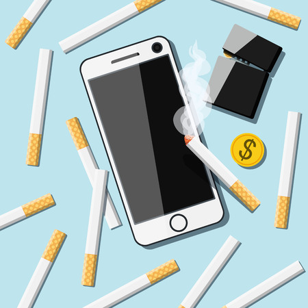 rollup: Cigarettes with phone, lighter and coin on table. Vector Illustration
