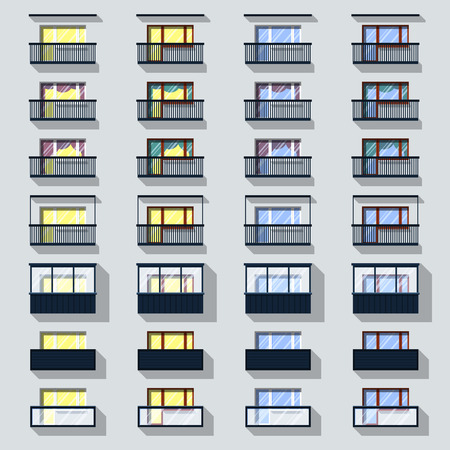 casement: Set different types of balconies with light and without  Illustration
