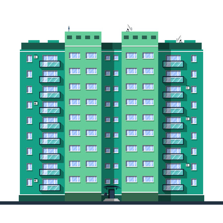 city background: The tiny, detailed multi-storey building in flat style Illustration
