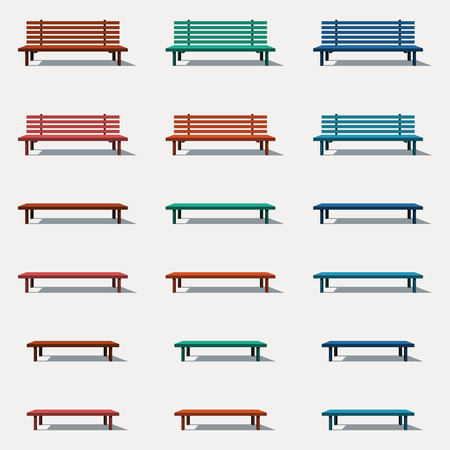 banc de parc: Un ensemble de diff�rents types de bancs Illustration