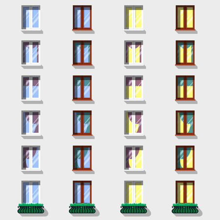 modern windows vintage windows set flat exterior icons royalty free cliparts