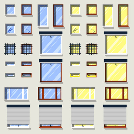 Modern windows set in flat exterior icons.