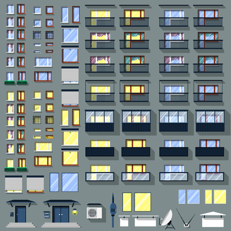 sunblind: Big set of windows, balconies and other accessories for the building