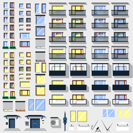 speakerphone: Big set of windows, balconies and other accessories for the building