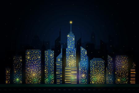 Gedetailleerde vector skyline van nacht stad Stock Illustratie