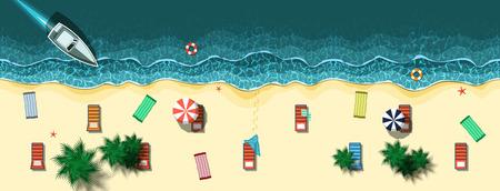 sun beach: Vector illustration of Summer tropical banner Illustration