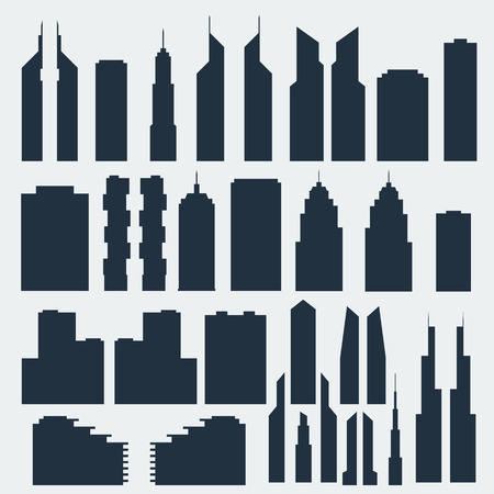 silhouettes of skyscrapers in vector