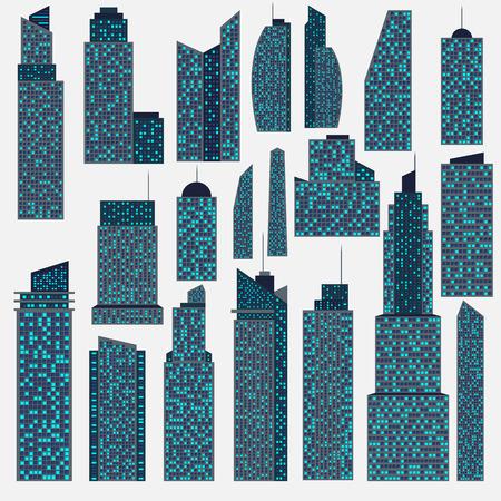 headquarter: Set of detailed vector skyscraper