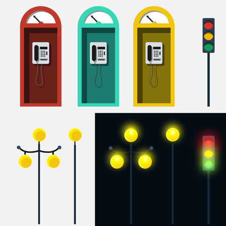 antique booth: Set of phone booth lamp and traffic light in vector