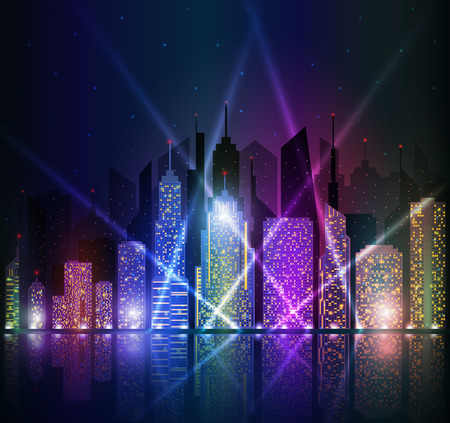 Colored and bright night cityscape.
