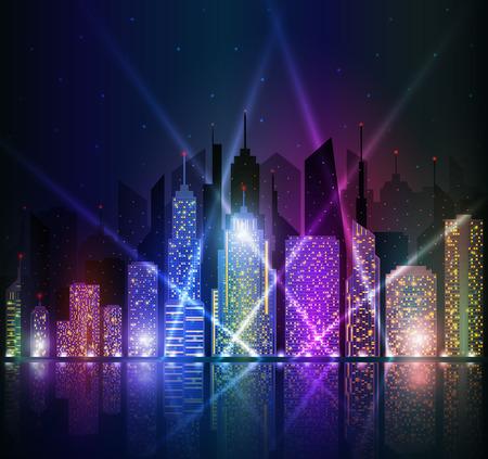 Colored and bright night cityscape.