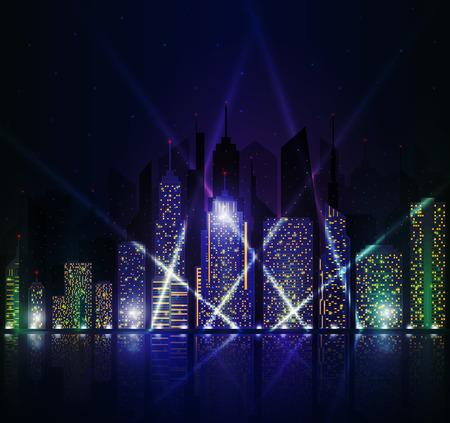 bright: Colored and bright night cityscape.