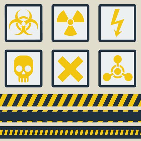 wastes: Warning symbols. The seamless tape.