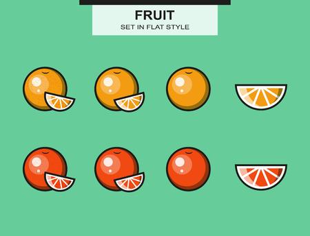 grapefruits: Set of oranges and grapefruits  Illustration