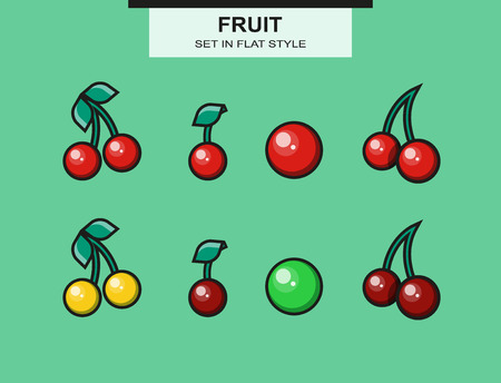 ripeness: Set of cherries of different ripeness  Illustration