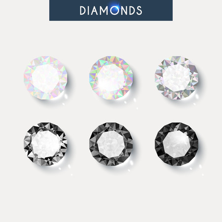 Set realistic diamond with reflex, glare and shadow  Vectores