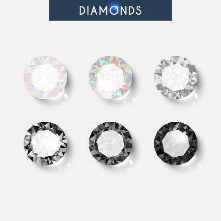 Set realistic diamond with reflex, glare and shadow  Vettoriali